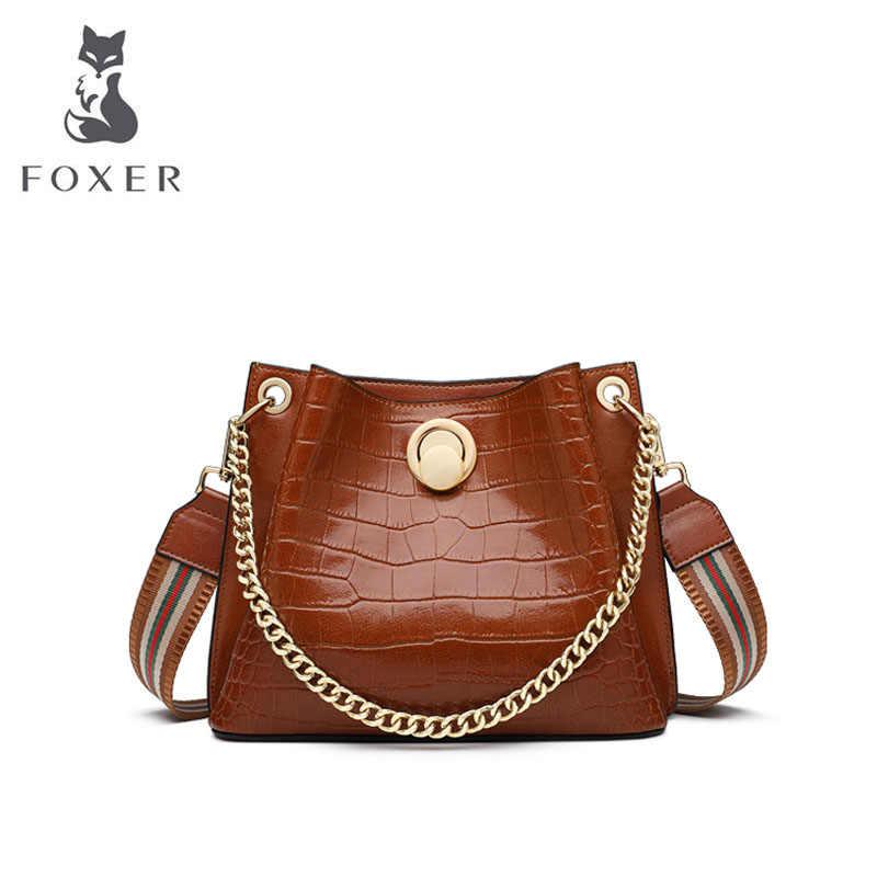Foxer sacos de couro das mulheres padrão de crocodilo saco de designer sacos de marca famosa 2019 novas bolsas de luxo