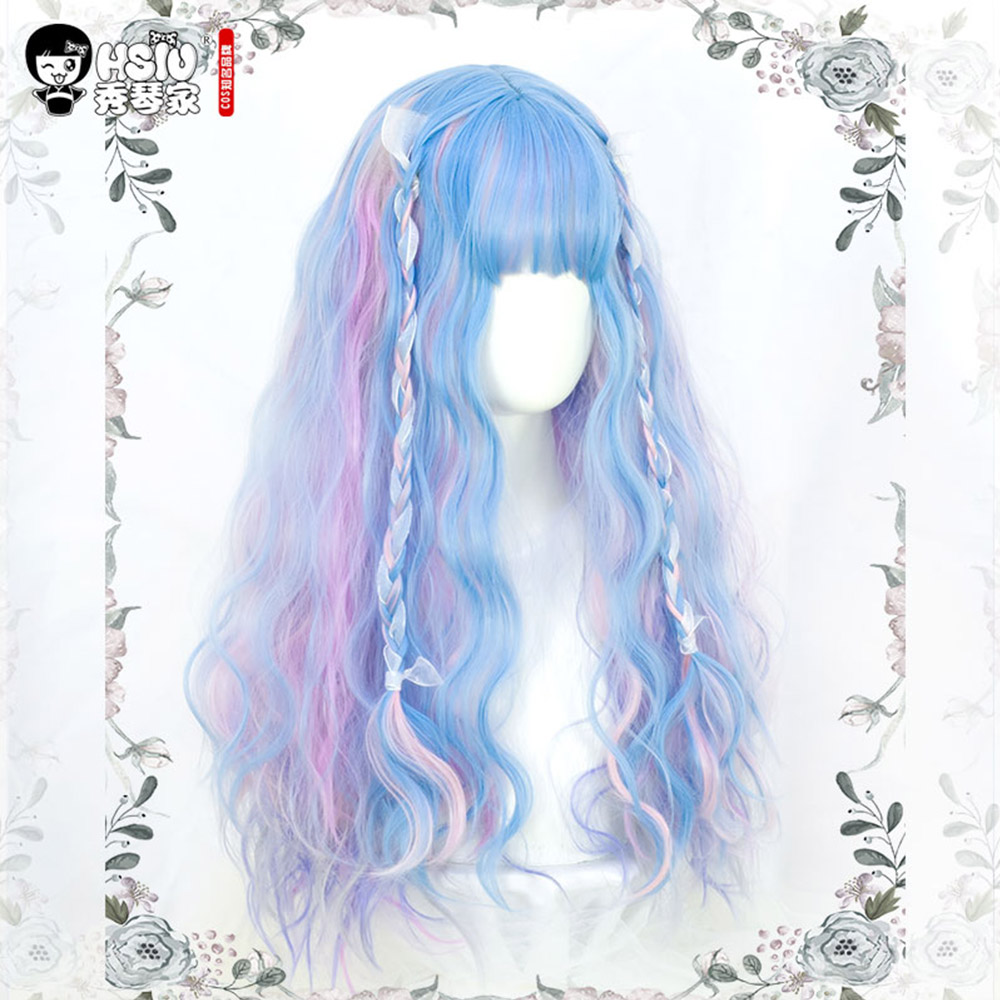 Image 5 - Soft sister Lolita Wig Harajuku UnicornRainbow Macaron Little fairy Marshmallow colored candy dreamy fluffy Double ponytail hairGirls Costumes   -