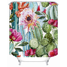 цена на Cactus flower polyester printing bathroom shower curtain bathroom partition curtain comes with hook