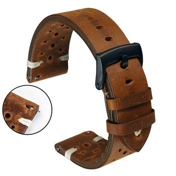 Genuine Leather Watch Band Strap Porous 18mm 20mm 22mm Dark Brown Handmade Oil Wax Leather Watch Strap Quick Release Women Men