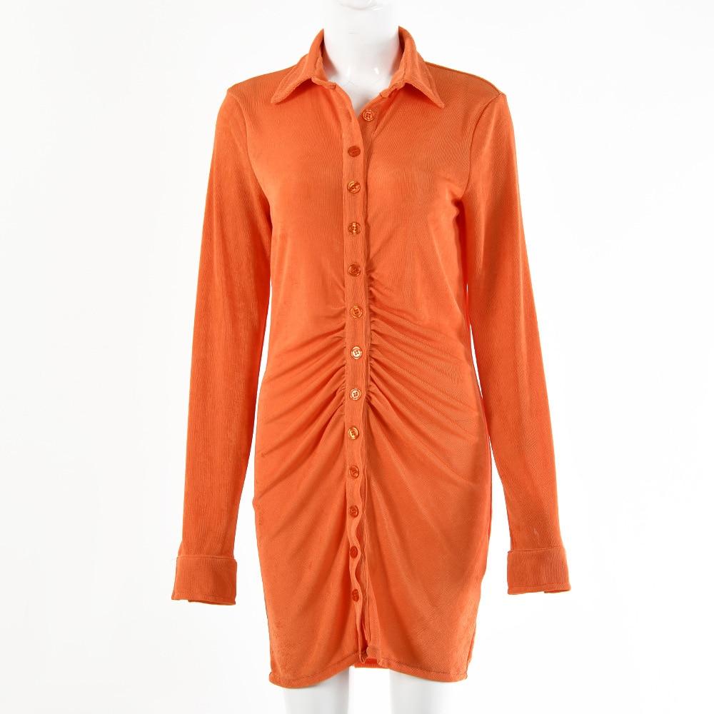 FANTOYE Pleated Turn-Down Collar Button Blouse Dress Women Sexy Long Sleeve Mini Dresses Solid Streetwear Female Shirt Vestidos 10