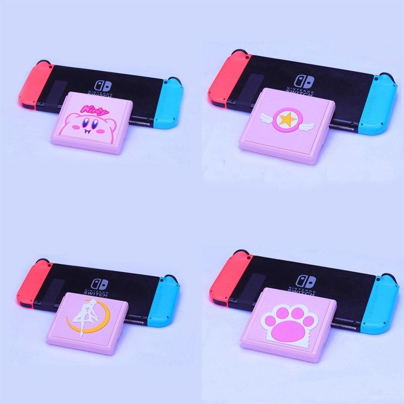 Жесткий розовый чехол с милыми лапками, коробка для хранения игровых карт, защитный чехол, держатель для Nintendo Switch NS Lite, аксессуары для карт п...