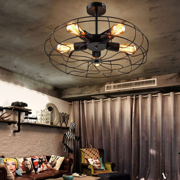 Vintage Retro Industrial Fan Ceiling Lights American Country Kitchen Clothing Store Cafe Shop Iron Lamp E27 Edison Light Bulbs