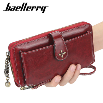цена Baellerry 2020 Luxury Women Long Wallet Leather Red Female Purse Slim Phone Clutch Housekeeper Ladies Wallets and Purses онлайн в 2017 году