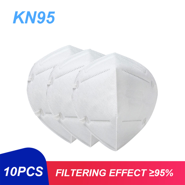 10pcs KN95 4 Layer Solid Color Disposable Dustproof Face Mouth Masks Anti PM2.5 Influenza Anti Flu Masks Mouth-muffle Gauze Mask