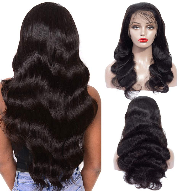 Body Wave Lace Front Human Hair Wigs 4*1 Lace Topline Wig Brazilian Remy Lace Part Wig Pre Plucked 150 Density Lace Wig WoWEbony