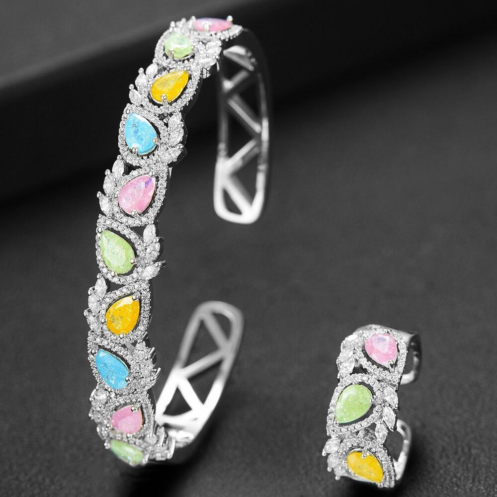 GODKI Luxury Saudi Arabia Bangle Ring Set For Women Full Micro Cubic Zircon Pave Party Wedding Saudi Arabic Dubai Jewelry Sets