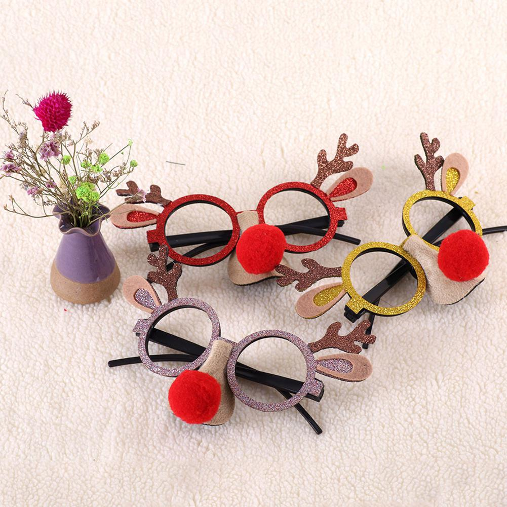 Kuulee Christmas Children's Eyeglasses Frame Antlers Snowman Frame Santa Claus Decorations Christmas Gift Children Glasses Frame