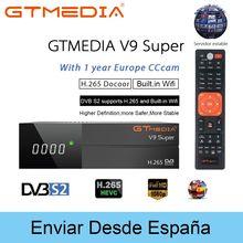 цена на H.265 Full 1080P DVB-S2 GT media V9 Super With CCcam Cline Spain Satellite TV Receiver Same As GTmedia V8 Nova Freesat V9Super
