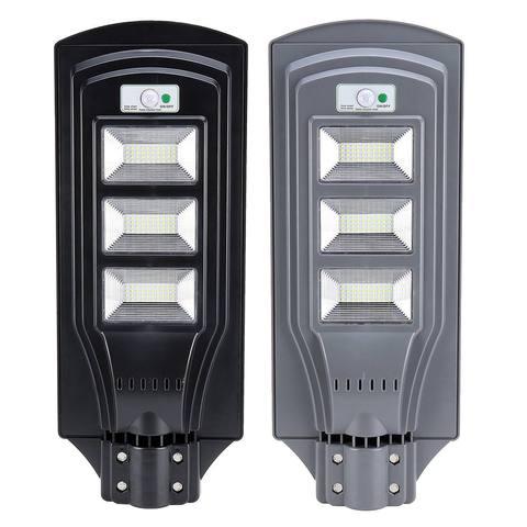 60 w led solar rua lampada de parede ip65 luz radar movimento 2 em 1