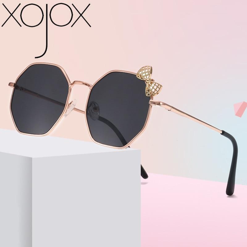 Новинка 2020, модные солнцезащитные очки XojoX для девочек, металлические солнцезащитные очки с бантом, Детские многоугольные трендовые очки