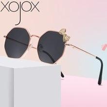 Xojox 2020 nova moda óculos de sol para meninas arco metal óculos de sol crianças polígono tendência óculos