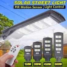 300w/450w/600w 560led luz de rua solar à prova dwaterproof água ip65 pir sensor movimento + controle remoto ao ar livre iluminação lâmpada segurança