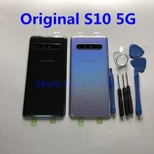 מקורי SAMSUNG Galaxy S10 5G גרסה G977 G977F G977B חזור זכוכית סוללה כיסוי אחורי דלת שיכון מקרה חזרה זכוכית כיסוי + כלי