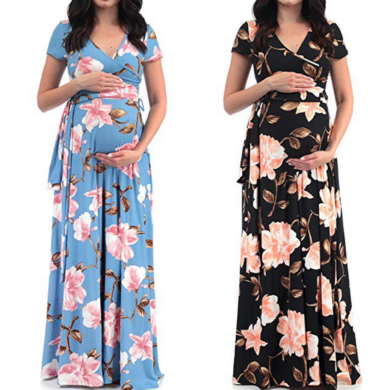 New Pregnant Women Floral Long Maxi Dresses Maternity Gown Photography Photo Shoot Clothes Pregnancy Summer Beach Sundress Dresses Aliexpress