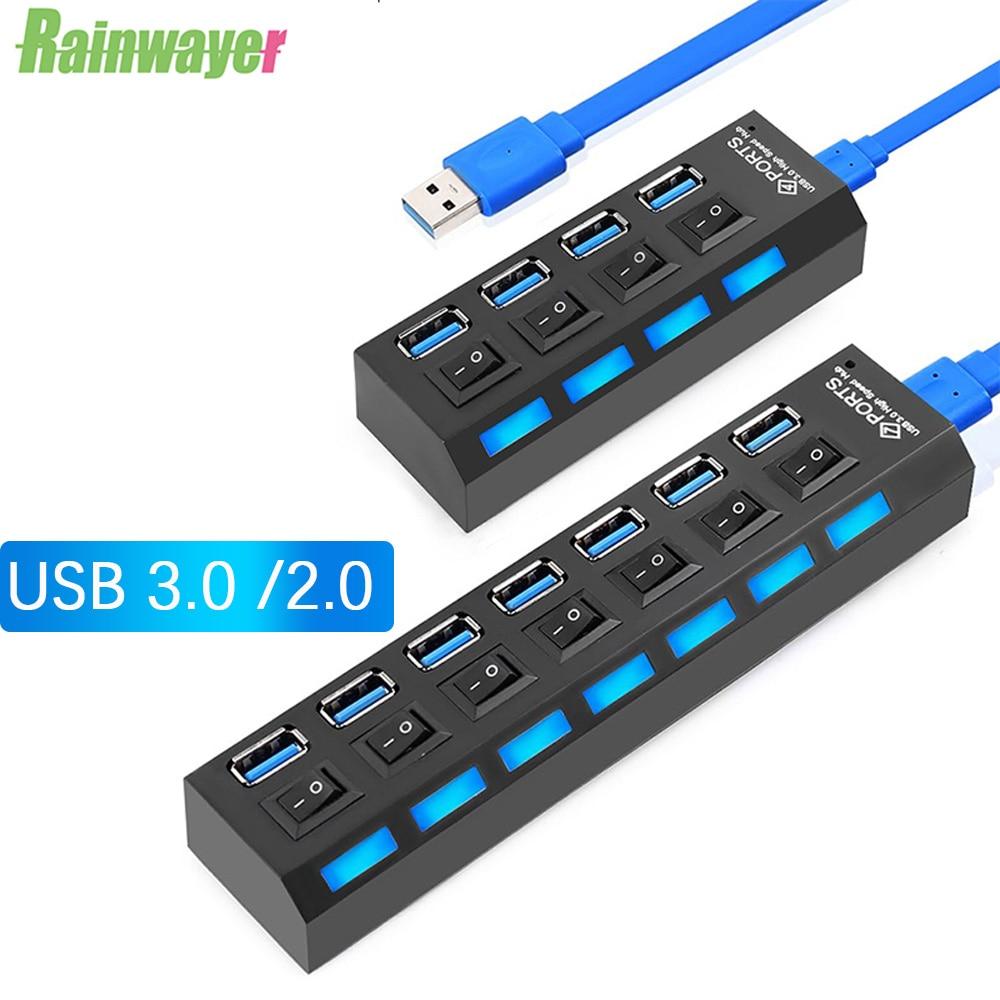 USB-концентратор 2,0, мульти-USB-Сплиттер, 4/7 портов, расширитель, несколько USB 3,0 Hab, используйте адаптер питания USB 2,0, концентратор с переключател...