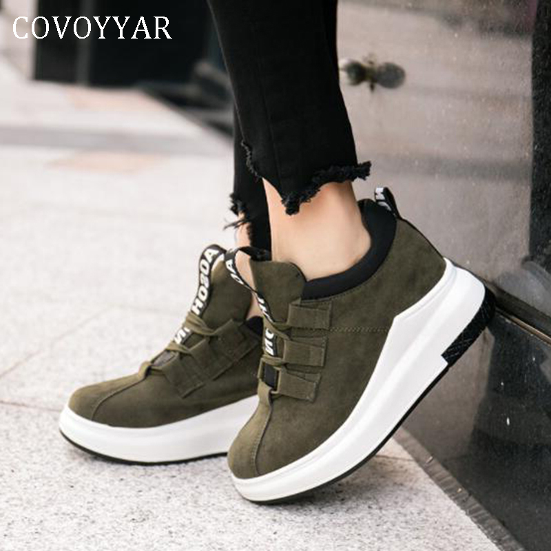 COVOYYAR 2019 Autumn Platform Women Casual Shoes Lace Up Wedge Woman Sneakers Flock Hidden Heel Lady Canvas Shoes WSN326