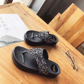 Women's flip-flops wedges the new summer version of platform platform platform platform shoes sequins water diamond cool slipper фото