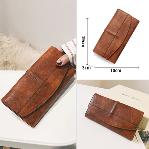 Image 4 - Trifold Wallet Women Long PU Leather Female Clutch Purse Hasp Female Phone Bag Girl Card Holder Elegant Pouch
