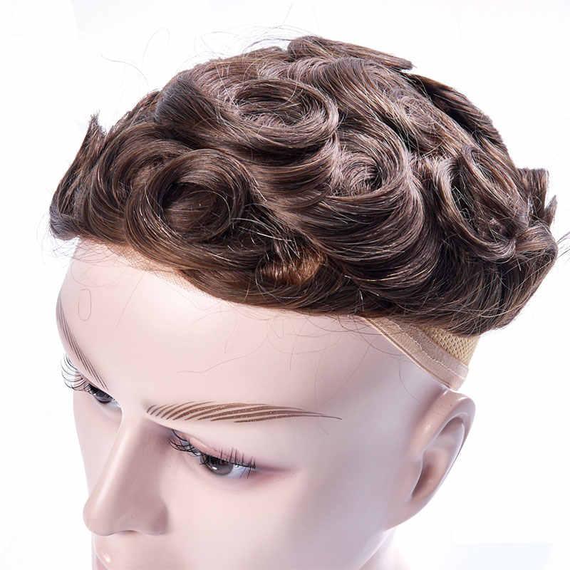 Französisch spitze & Transparent Dünne Haut Toupet Ersatz Systeme Handgemachte Männer Perücke Haarteil Natürliche Remy Indische Menschliches Haar 6 Inch