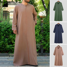 Islamic Jubba Thobe Men Solid Color V Neck Long Sleeve Saudi Arabia Robes Middle East Abaya Muslim Kaftan S-5XL INCERUN 2019