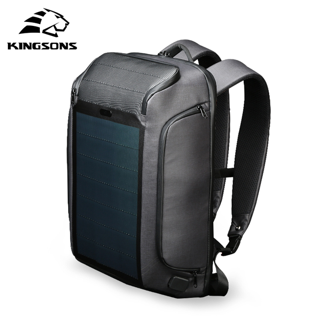 Kingsons new multifunctional solar charging anti-theft backpack men's 15-inch USB charging travel bag high-end upgraded version 3