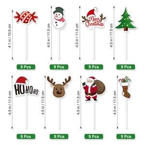 Image 5 - 72pcs Merry Christmas Cake Topper Cupcake Toppers มัฟฟิน Santa Claus Christmas Tree Snowman น่ารักผลไม้เค้ก Picks Xmas Supplies