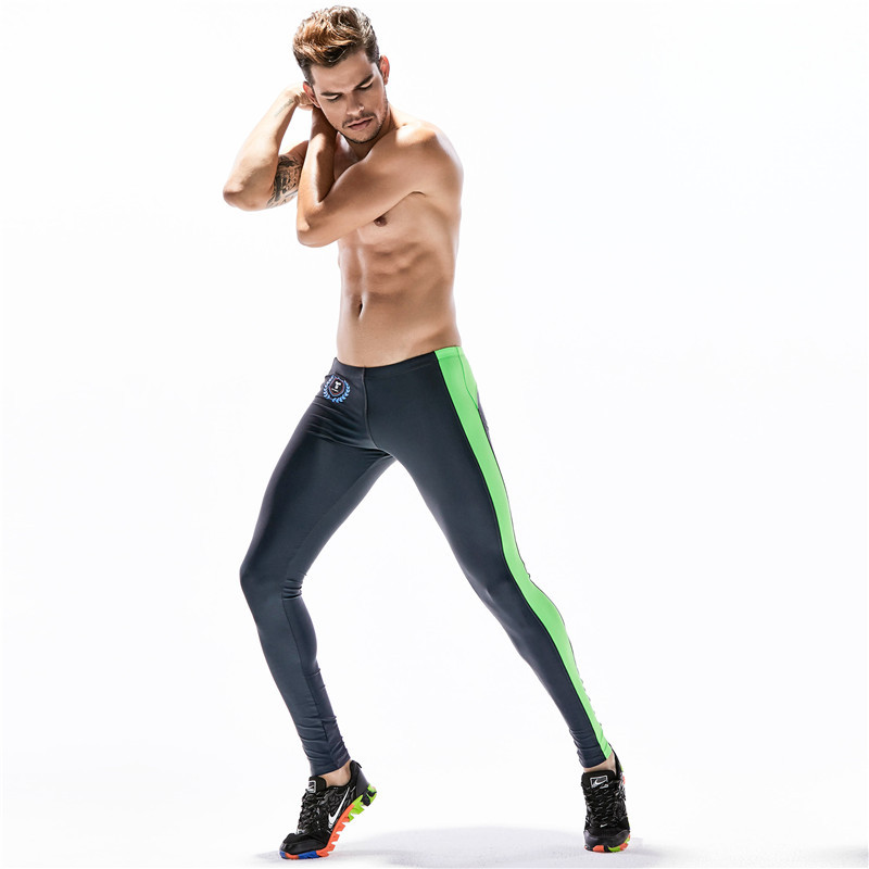 Men Sweatpants stripe printed Compression Legging Tights Male Running Jogger Fitness Gym Workout Sport Pant Trousers Activewear