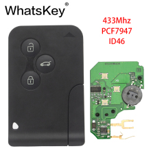 WhatsKey 3 Button 433Mhz ID46 PCF7947 Chip Remote Key with Insert Small Blade Smart Card Car Key For Renault Megane Scenic Card 5pcs lot high quality renault megane card key renault megane 3 button remote key with 433mhz with id46 chip