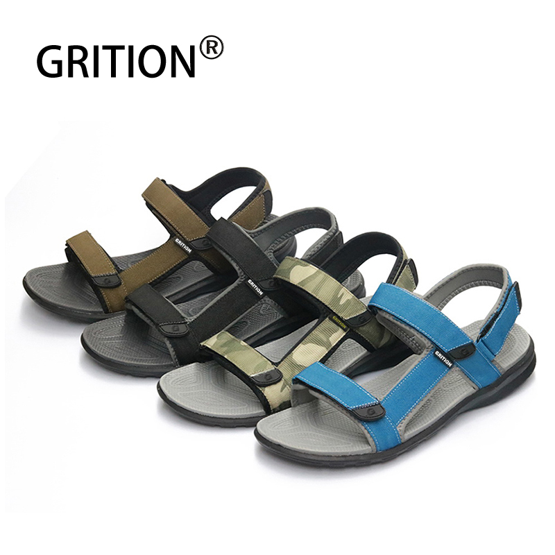 GRITION Men Sneakers Outdoor Sandals Summer Flat Beach Shoes Lightweight Quick-drying Rubber Breathable Sport Shoes Big Size 46