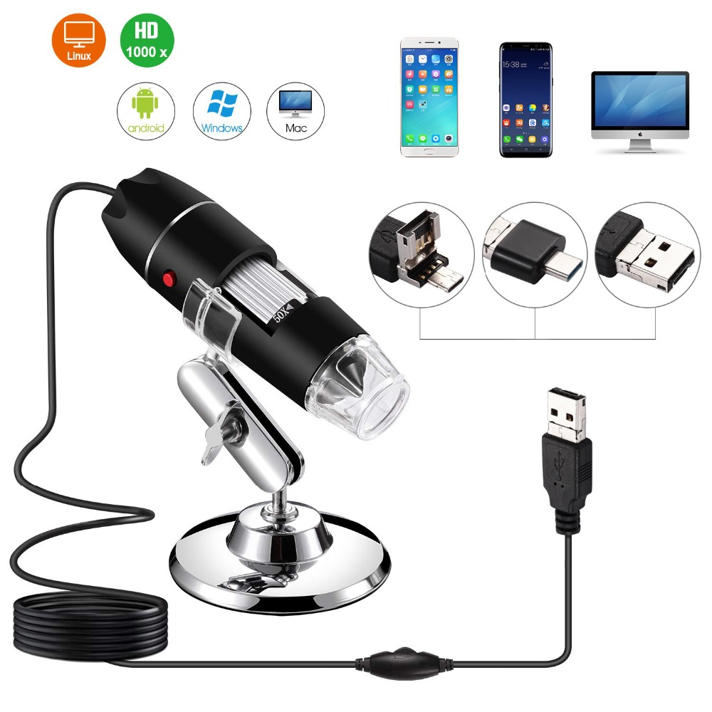 3in1 Microscope 1000X  HD 8 LED Digital USB Microscope Type-c Microscopio Magnifier Electronic Stereo USB Endoscope Type