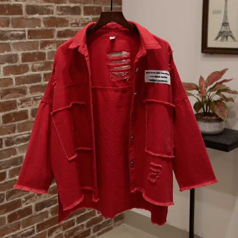 Musim Gugur Pola Musim Semi dan Lubang Baru Wanita Chaqueta Longgar Patch Jaket Huruf Pola Square Kerah Lengan Panjang Longgar Mantel WX03