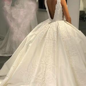 Image 2 - Роскошное Свадебное платье, бальное платье, пушистое атласное кружевное платье с аппликацией из бисера, новый дизайн 2020, свадебное платье на заказ SH22