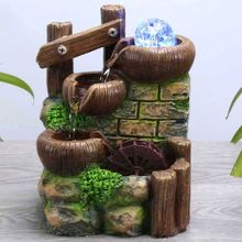 Home Decor Feng Shui Miniature Ornaments Resin Desktop Flowing Water Waterfall Fountain With LED Light Living Room Decoration