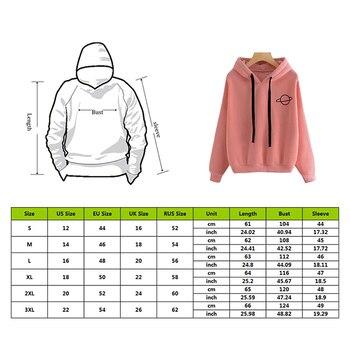 Adisputent 2020 Women Hoodies Casual Planet Print Solid Color Loose Drawstring Sweatshirt Fashion Long Sleeve Hooded Female Tops 2