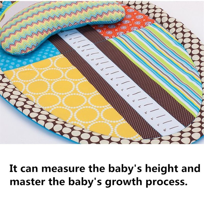 Tummy Tummy Time Activity Play Mat - Ergonomic Plush Pillow - Baby Mirror - Squishy Toys - Changing Pad - Height Measure Chart -