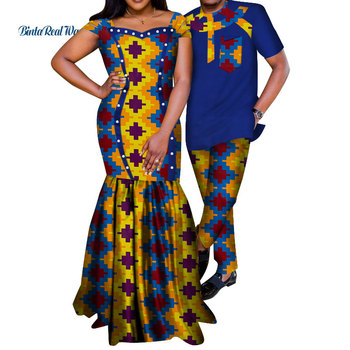 African Dresses for Women Bazin Riche Mens Shirt and Pants Sets Lover Couples Clothes Print Long Dress African Clothing WYQ210