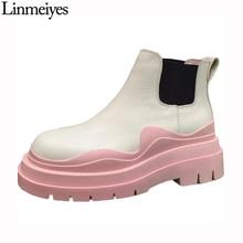Echtes Leder Mid-kalb Stiefel Frauen Farbe Sohle Chelsea Stiefel Hohe Qualität Flache Rosa Stiefel Plattform Schuhe Frauen Stiefel winter