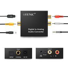 Convertidor de Audio Coaxial de fibra óptica Toslink Digital a analógica, conector L/R RCA Jack de 3,5mm, canal izquierdo y derecho óptico para HDTV