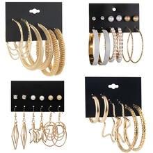 Серьги кольца luokey женские большие круглые ювелирные украшения