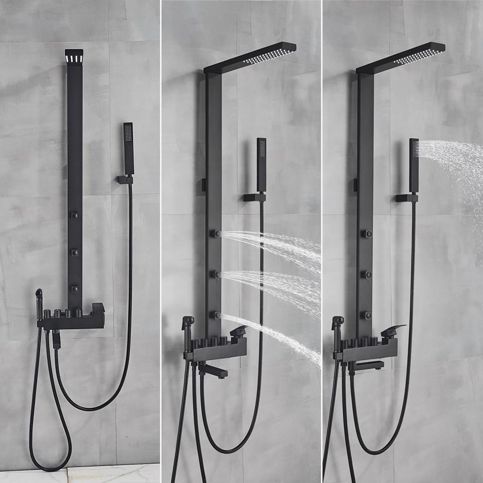 He93d1813dd454c3490ce1be1c53a37cfY Uythner Luxury Matte Black Bathroom Faucet Bath Rain Shower Faucet Wall Mounted Bathtub Shower Mixer Bidet Tap Shower Set Mixer