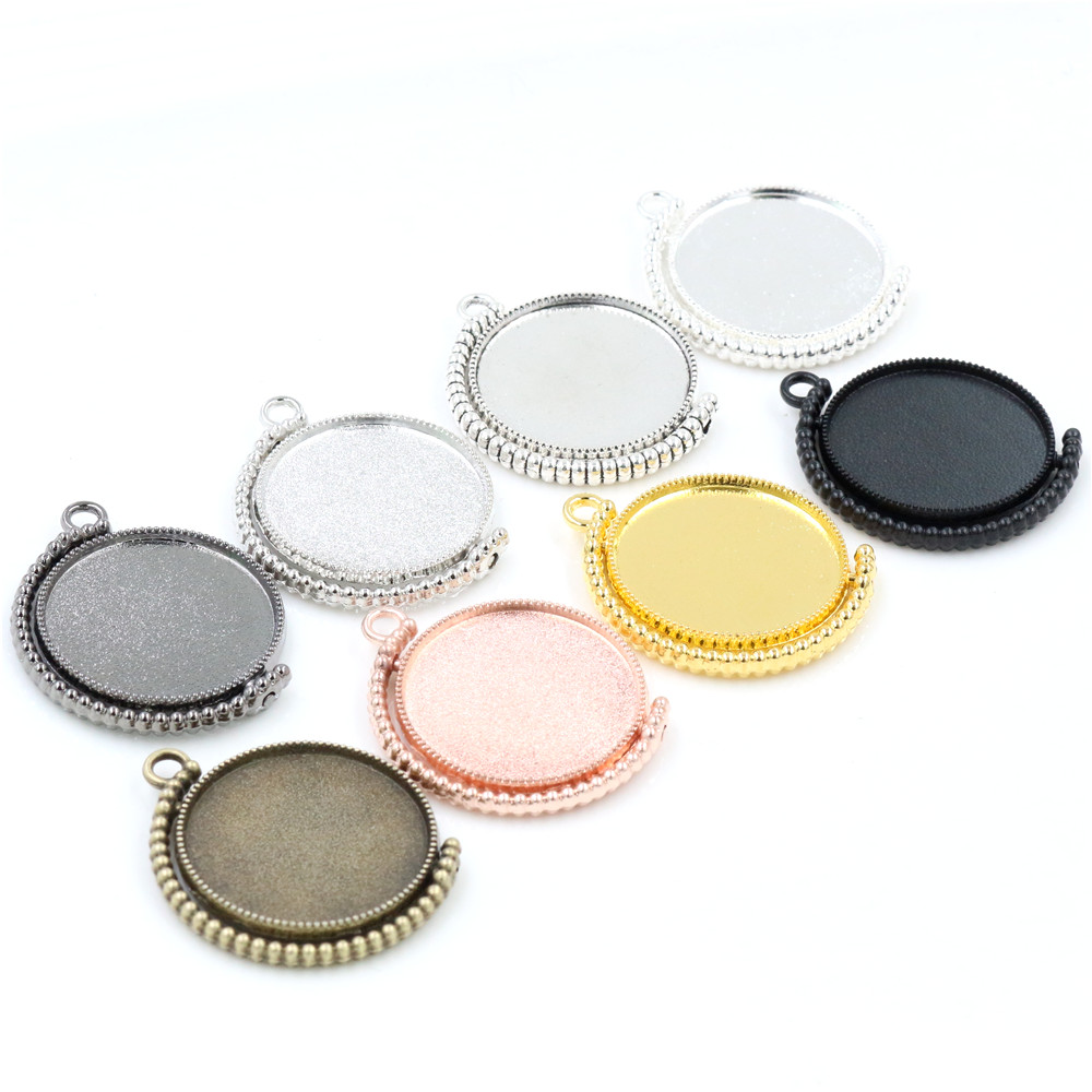 5pcs 25mm Inner Size Rotation Double Side 8 Colors Plated Cameo Base Setting Charms New Fashion Pendant