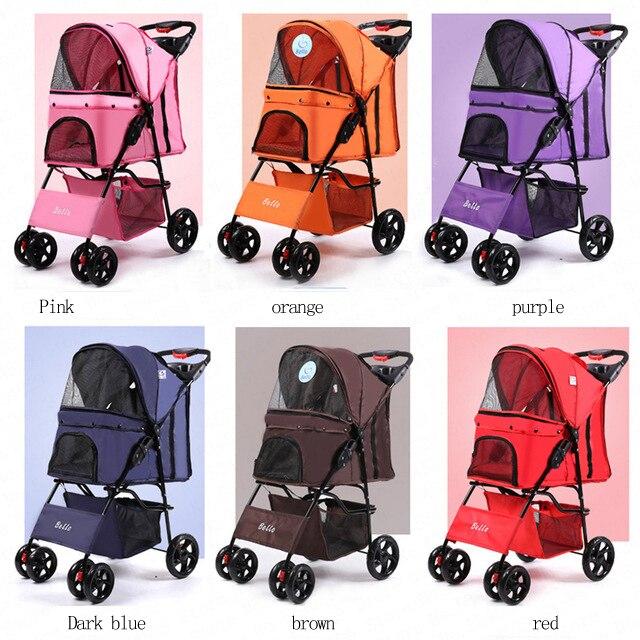 Na cztery koła Oxford wózek dla zwierzęcia, dla kota, psa i więcej, składany przewoźnik spacery wózek z płaszcz przeciwdeszczowy 15kg łożyska 6 kolory w Przewóz psów od Dom i ogród na  Grupa 1
