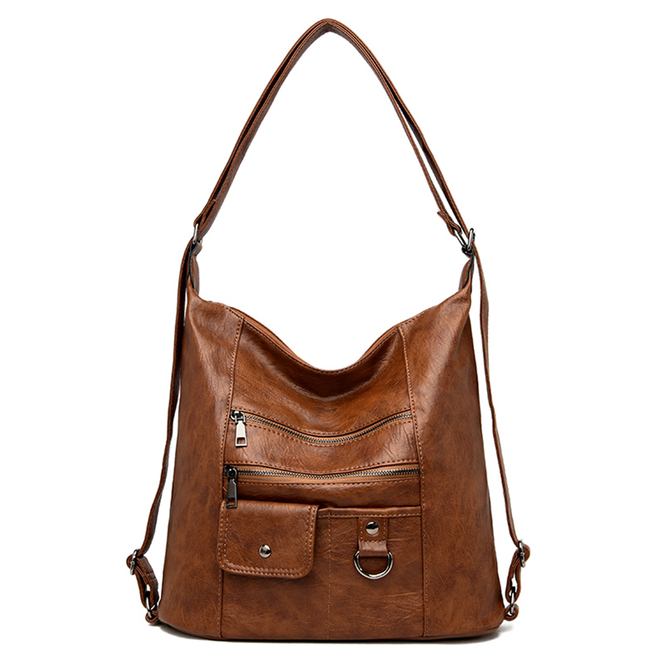 Brand Soft Leather BigTote Bag Back Pack Female Casual Large Capacity Handbags Ladies Shulder Hand Bags For Women 2020 Sac A Dos