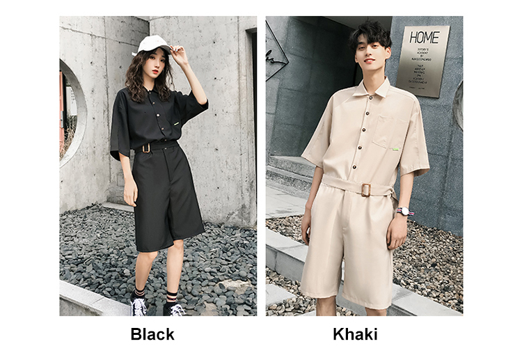 LAPPSTER Jumpsuit Men Harajuku Belt 2020 Summer Couple Women Jumpsuit Plus Size Black Cargo Overalls Pants Korean Style Fashion 75
