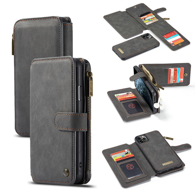 CaseMe Detachable Flip Leather Cases For iPhone 12 mini 11 Pro Business Wallet Phone Cover For iPhone 12 11Pro Max SE 2020