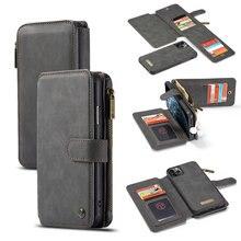 CaseMe odpinane etui z klapką skórzane etui na iPhone 12 mini 11 Pro biznes portfel etui na telefon iPhone 12 11Pro Max SE 2020