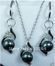 free shipping silver black pearl pendant earring necklace Jewellery set(China)