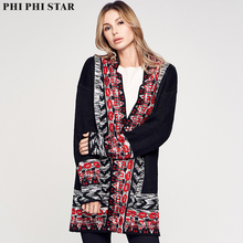 Phi Phi Star Brand European Women Jacquard Straight Cardigan Knitted Sweater Coat autumn and winter Loose free Size Coat loose fitting tribal jacquard cardigan page 7