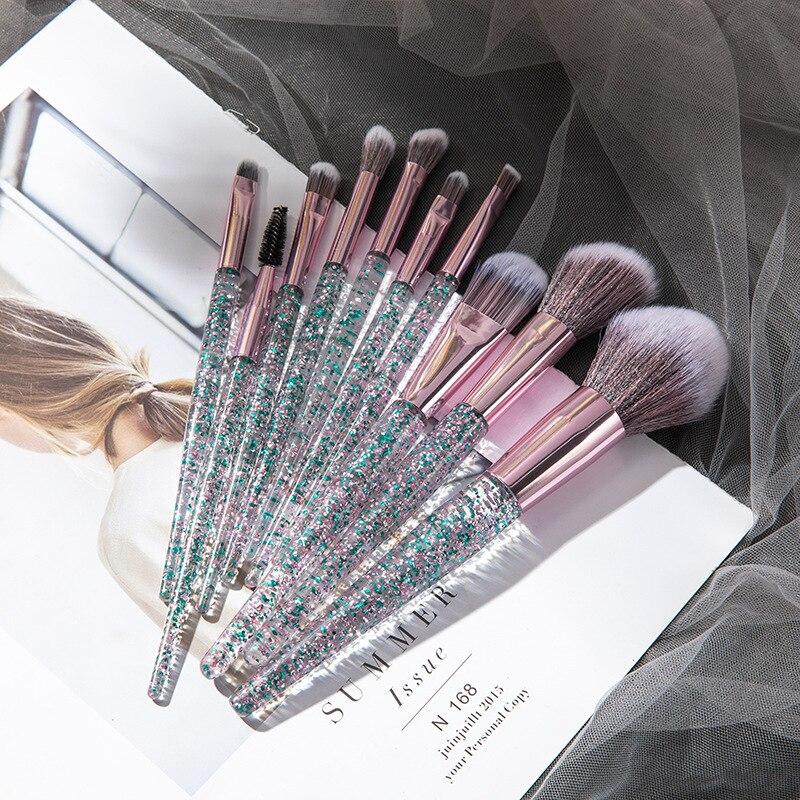 10PCS Professional Makeup Brush Diamond Crystal Brush Set Acrylic Handle Foundation Blush Brush Powder Mixed Eye Shadow Tool Kit